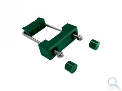 Příchytka z PVC a nerez oceli k uchycení panelů k obdélníkovým sloupkům 60 × 40 mm - zelená