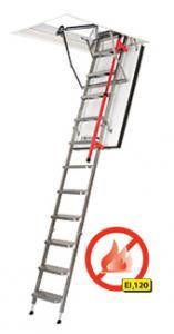 Skládací schody s kovovým žebříkem protipožární
